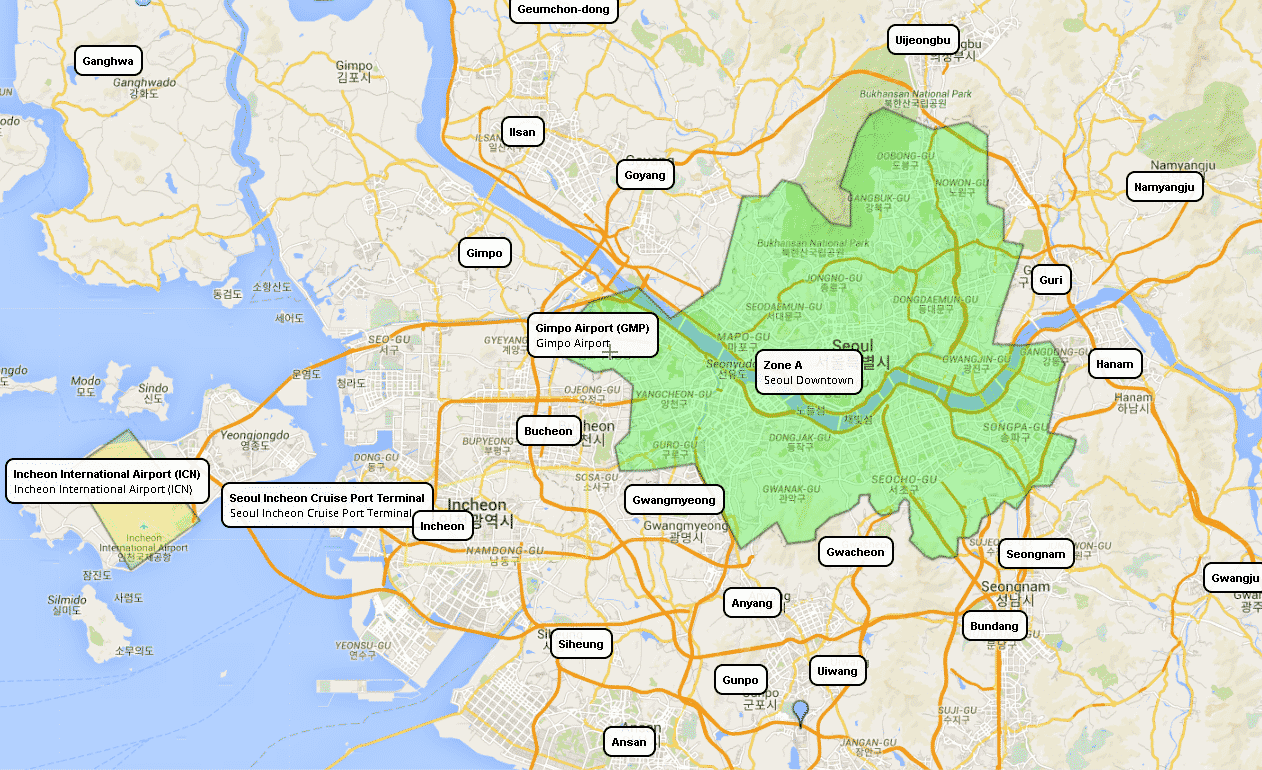 English Airport Transfers in Seoul Tariff Map Taxi